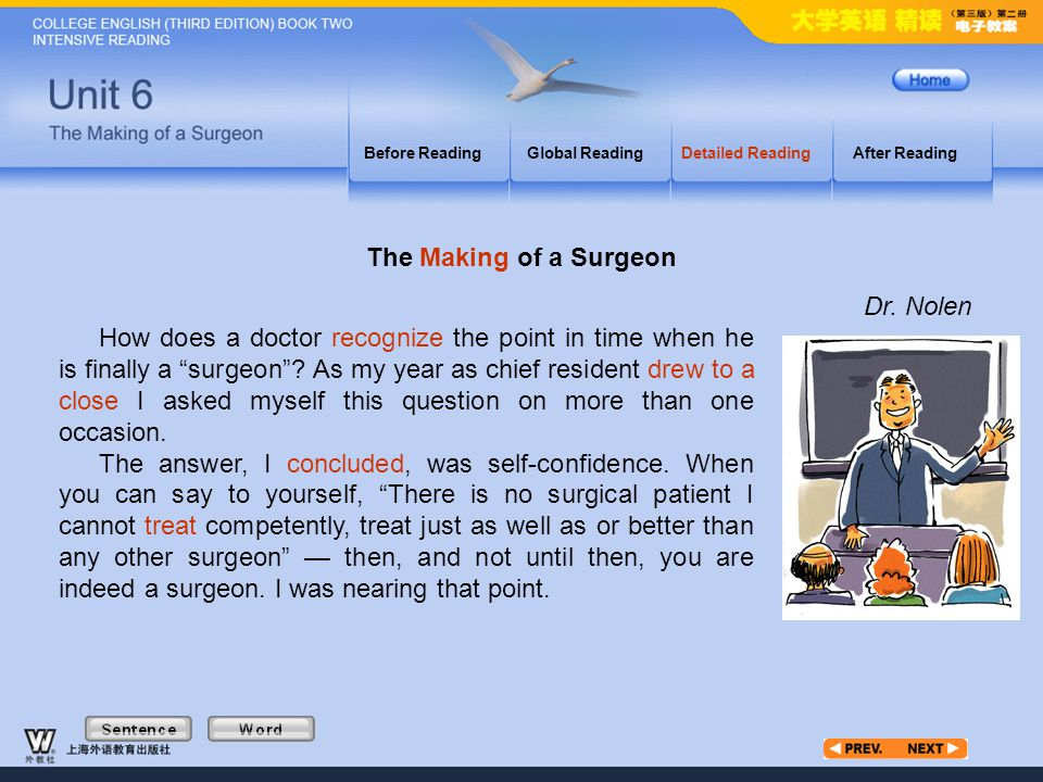 """Article1_W Before ReadingGlobal ReadingDetailed ReadingAfter Reading How does a doctor recognize the point in time when he is finally a """"surgeon""""? As"""