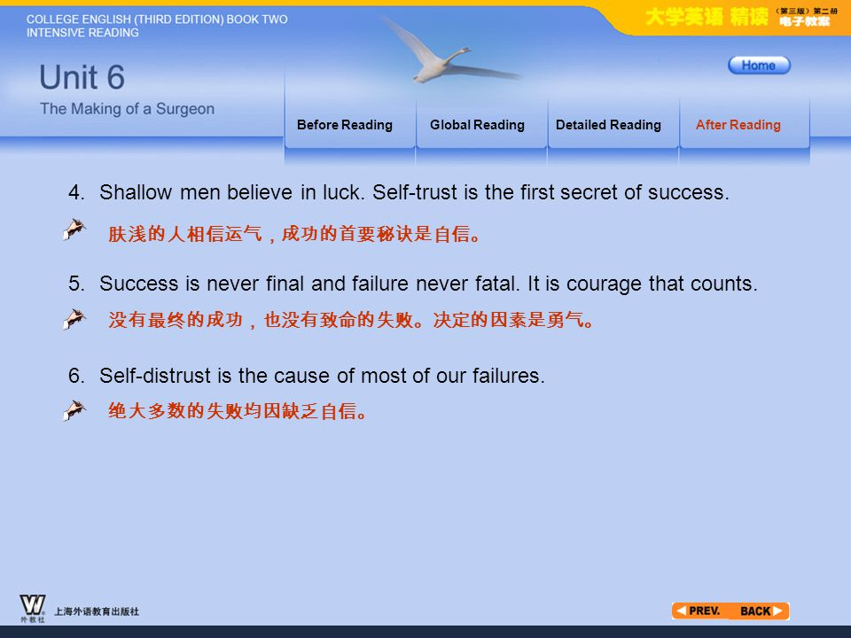 After Reading_8.2 4. Success is never final and failure never fatal. It is courage that counts. 肤浅的人相信运气,成功的首要秘诀是自信。 没有最终的成功,也没有致命的失败。决定的因素是勇气。 Before