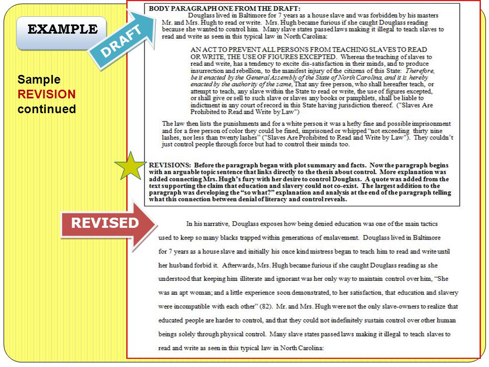 EXAMPLE Sample REVISION continued DRAFT REVISED
