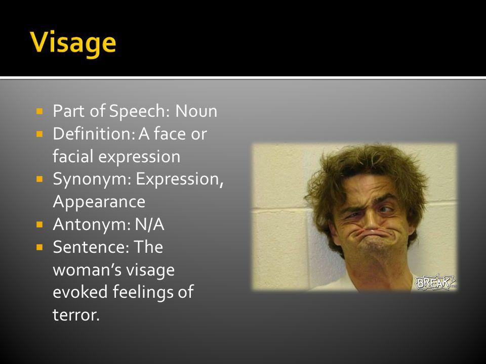  Part of Speech: Noun  Definition: A face or facial expression  Synonym: Expression, Appearance  Antonym: N/A  Sentence: The woman's visage evoked feelings of terror.