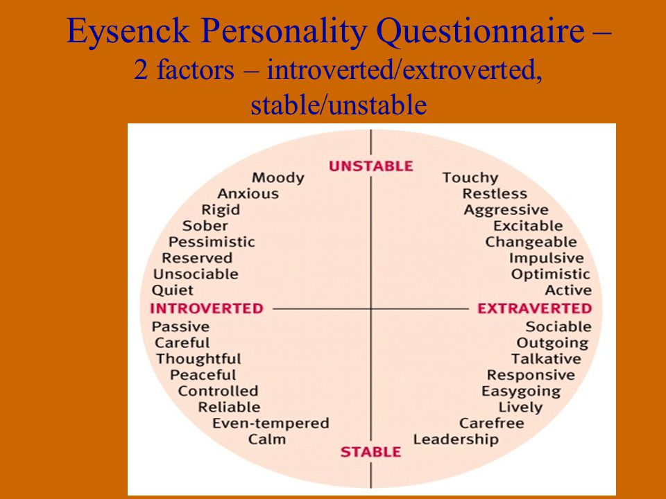 Myers-Briggs Focus on normal people and emphasizes naturally occurring differences –Used for career inventory/preference purposes –Typology – 4 dichotomies = 16 possible types