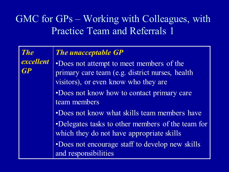 GMC for GPs – Working with Colleagues, with Practice Team and Referrals 1 The excellent GP The unacceptable GP Does not attempt to meet members of the