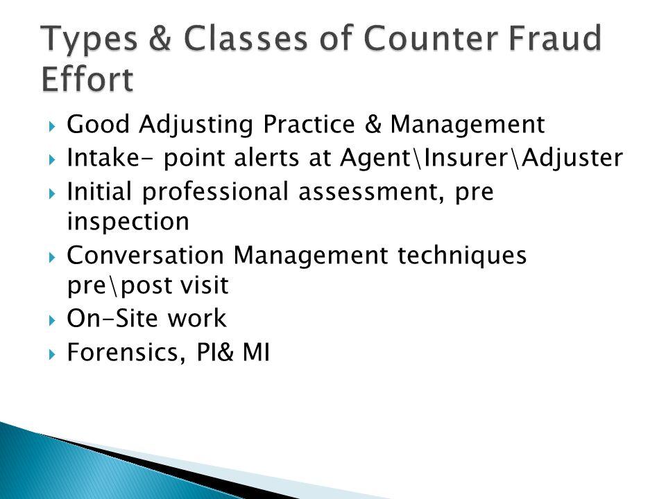  Good Adjusting Practice & Management  Intake- point alerts at Agent\Insurer\Adjuster  Initial professional assessment, pre inspection  Conversati
