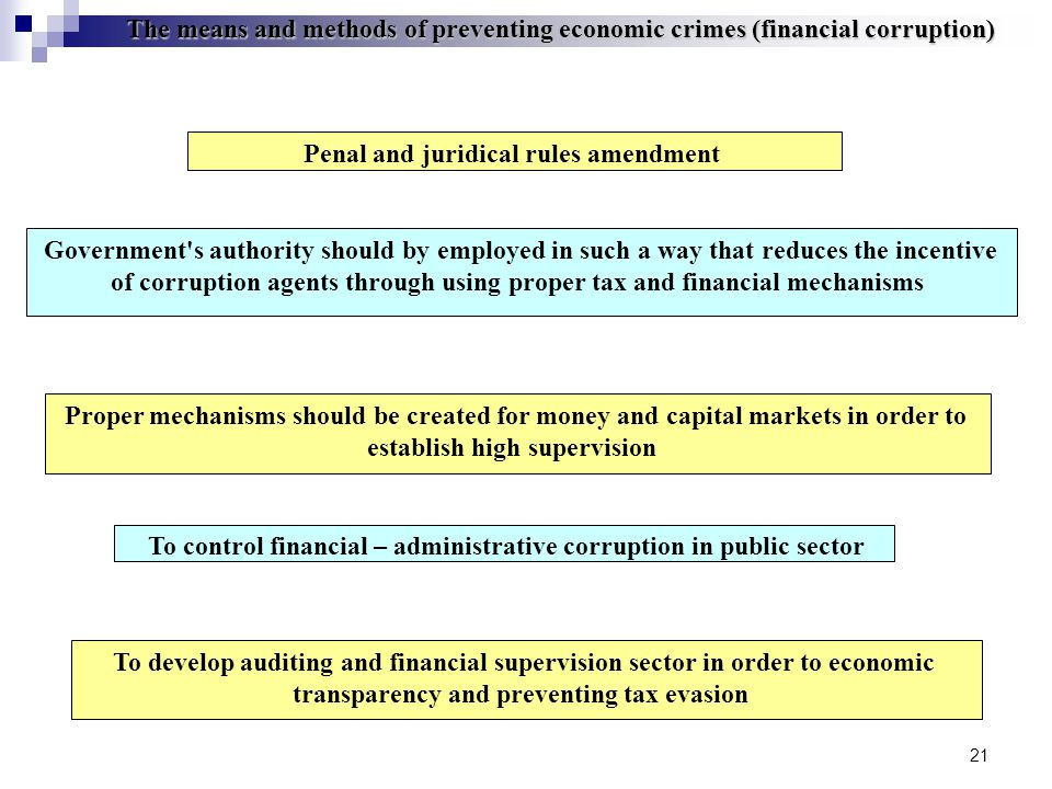 21 The means and methods of preventing economic crimes (financial corruption) Government s authority should by employed in such a way that reduces the incentive of corruption agents through using proper tax and financial mechanisms To control financial – administrative corruption in public sector To develop auditing and financial supervision sector in order to economic transparency and preventing tax evasion Proper mechanisms should be created for money and capital markets in order to establish high supervision Penal and juridical rules amendment