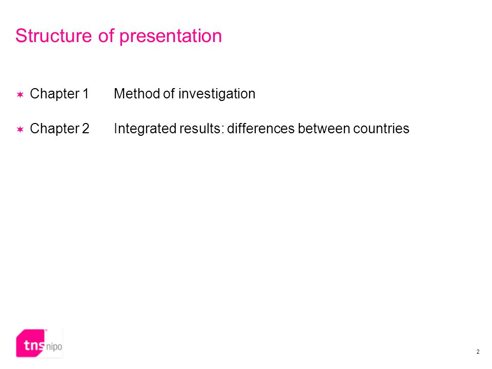 2 Structure of presentation  Chapter 1Method of investigation  Chapter 2Integrated results: differences between countries