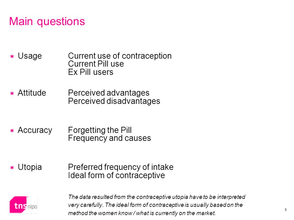 5 Main questions  UsageCurrent use of contraception Current Pill use Ex Pill users  AttitudePerceived advantages Perceived disadvantages  Accuracy Forgetting the Pill Frequency and causes  UtopiaPreferred frequency of intake Ideal form of contraceptive The data resulted from the contraceptive utopia have to be interpreted very carefully.