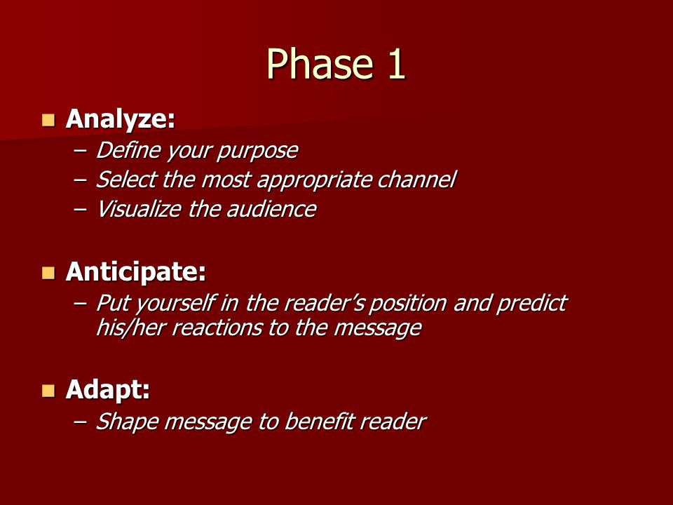Phase 1 Analyze: Analyze: –Define your purpose –Select the most appropriate channel –Visualize the audience Anticipate: Anticipate: –Put yourself in t