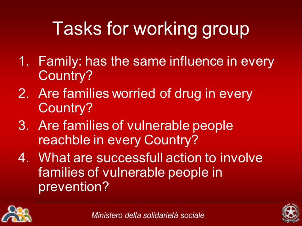 Tasks for working group 1.Family: has the same influence in every Country? 2.Are families worried of drug in every Country? 3.Are families of vulnerab