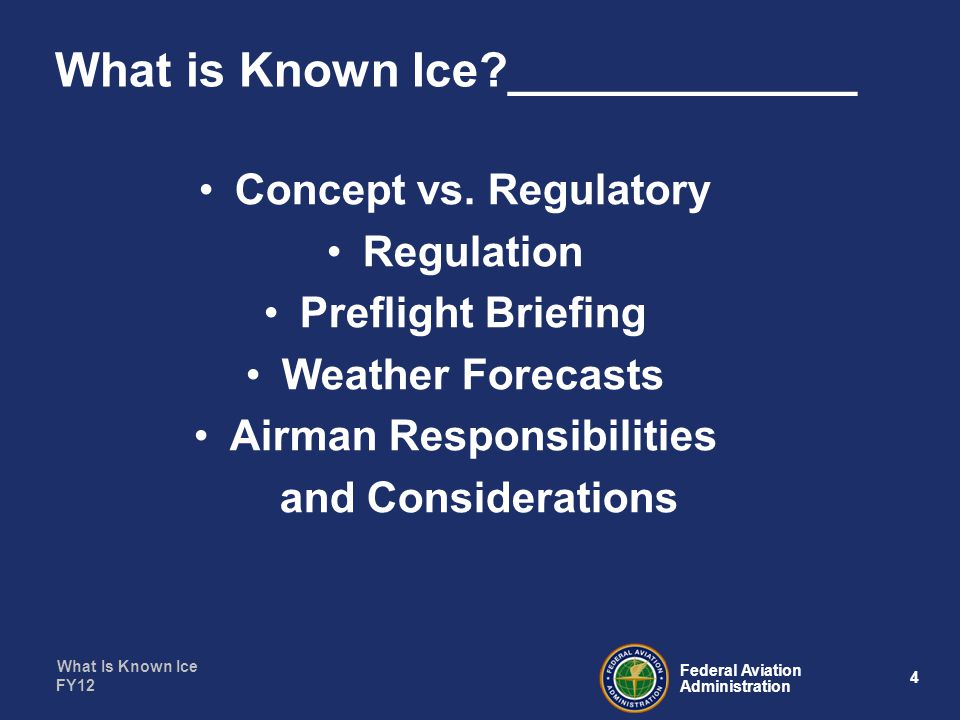 What Is Known Ice 35 Federal Aviation Administration FY12 Get it back on the Ground__________ Considerations: –Make gentle wide turns –Utilize ATC for Vectors to final –Use an ILS approach if available –Longest runway –Keep your speed up –Leave the flaps where they are, YOU DO NOT NEED THEM!