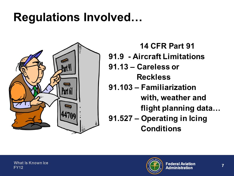 What Is Known Ice 8 Federal Aviation Administration FY12 Aircraft Limitations - 91.9(a)________