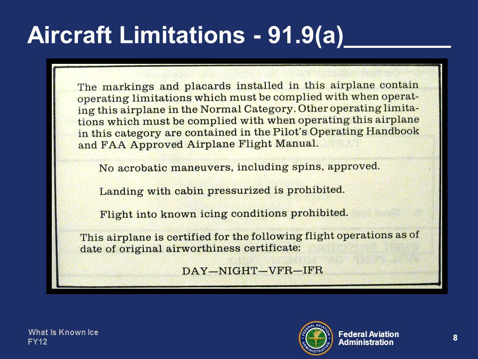 What Is Known Ice 39 Federal Aviation Administration FY12 Now we know____________________ Concept vs.