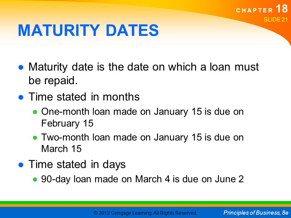 © 2012 Cengage Learning. All Rights Reserved. Principles of Business, 8e C H A P T E R 18 SLIDE 21 MATURITY DATES ●Maturity date is the date on which