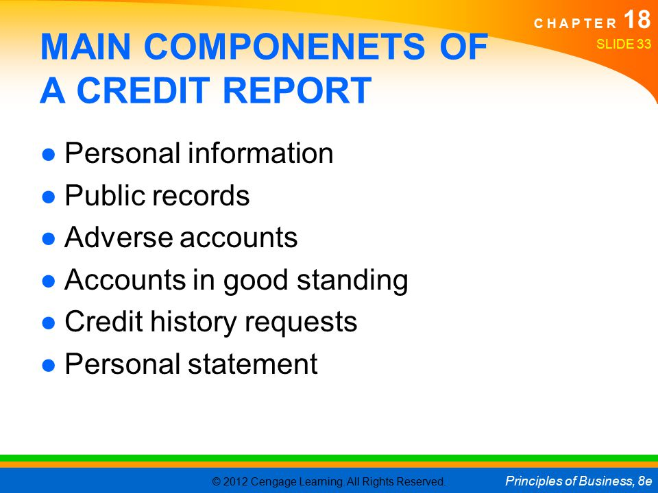 © 2012 Cengage Learning. All Rights Reserved. Principles of Business, 8e C H A P T E R 18 SLIDE 33 MAIN COMPONENETS OF A CREDIT REPORT ●Personal infor