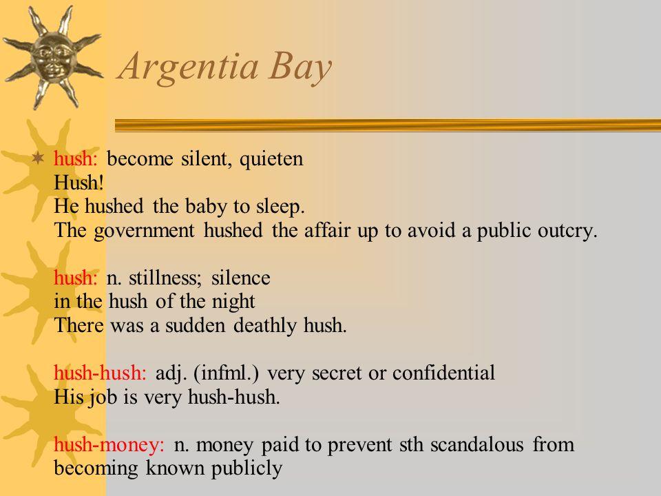 Argentia Bay  hush: become silent, quieten Hush. He hushed the baby to sleep.