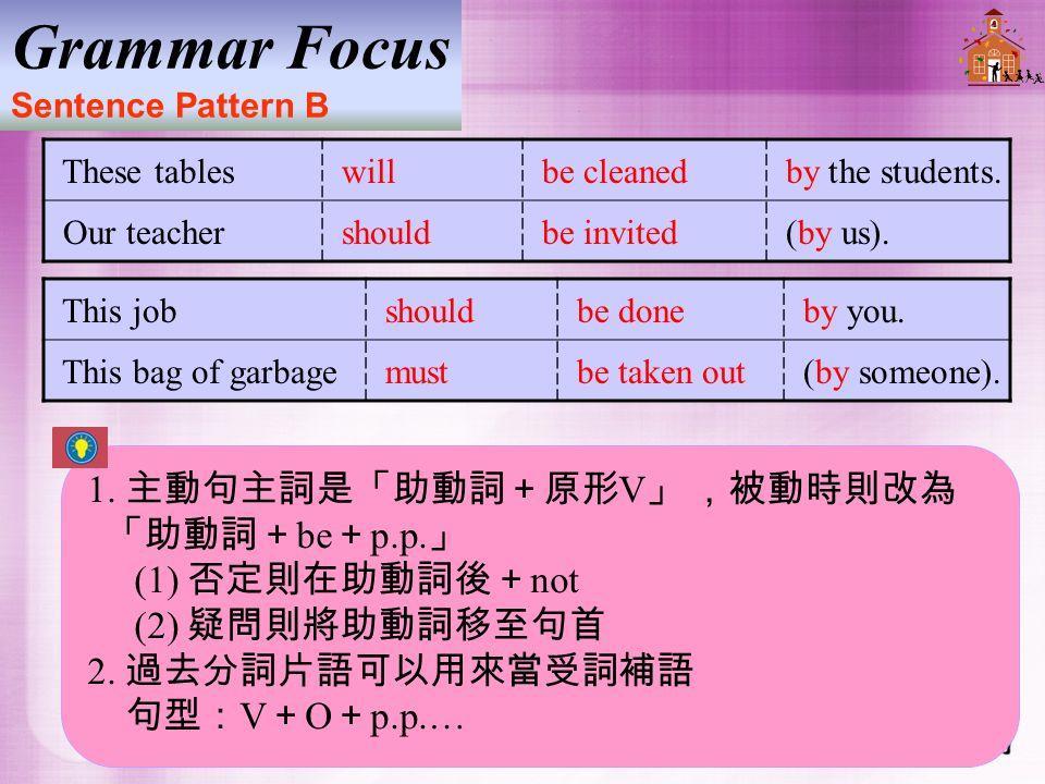 1.主動句主詞是「助動詞+原形 V 」 ,被動時則改為 「助動詞+ be + p.p. 」 (1) 否定則在助動詞後+ not (2) 疑問則將助動詞移至句首 2.