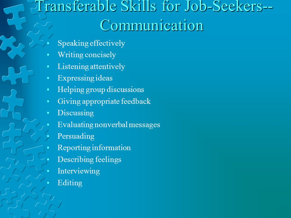 Transferable Skills for Job-Seekers-- Communication Transferable Skills for Job-Seekers-- Communication Speaking effectively Writing concisely Listening attentively Expressing ideas Helping group discussions Giving appropriate feedback Discussing Evaluating nonverbal messages Persuading Reporting information Describing feelings Interviewing Editing
