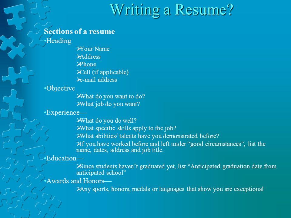 Writing a Resume.