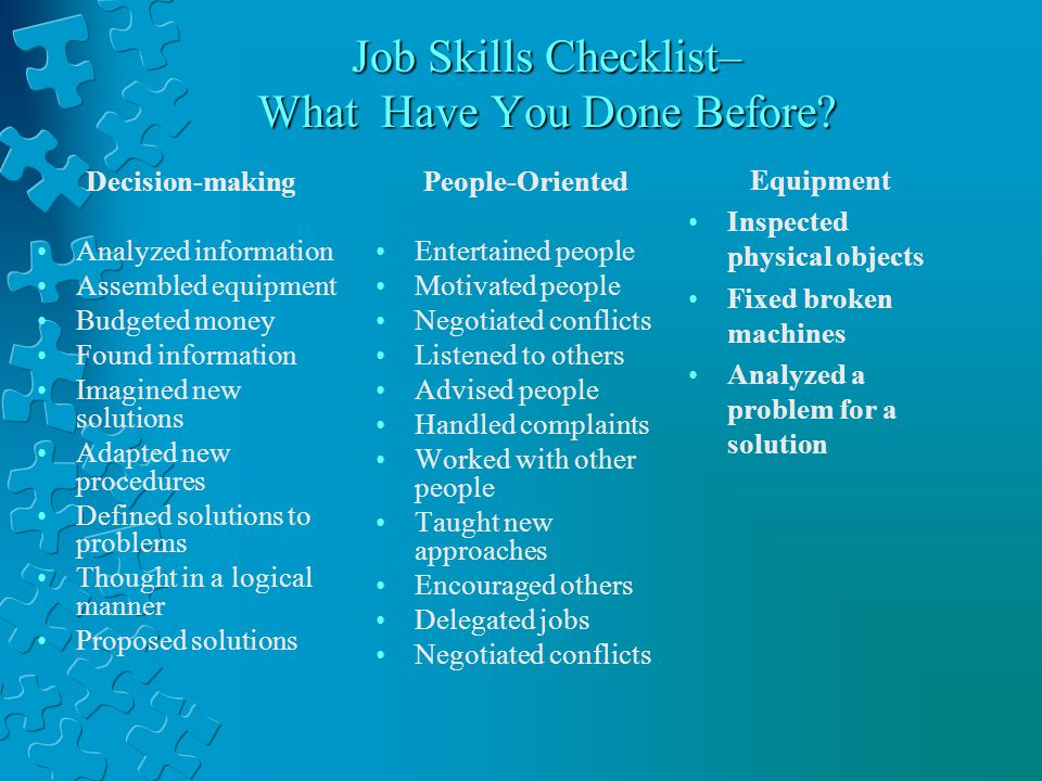 Transferable Skills for Job-Seekers Organization, Management and Leadership Initiating new ideas Handling details Coordinating tasks Managing groups Delegating responsibilities Teaching and coaching Counseling Promoting change Selling ideas or products Decision making with others Managing conflict