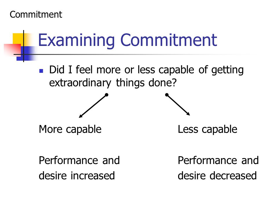 Examining Commitment Did I feel more or less capable of getting extraordinary things done.