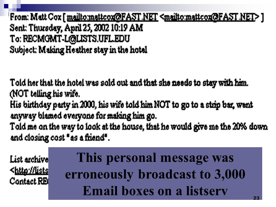 The envelope (metadata) to link to the record message 22