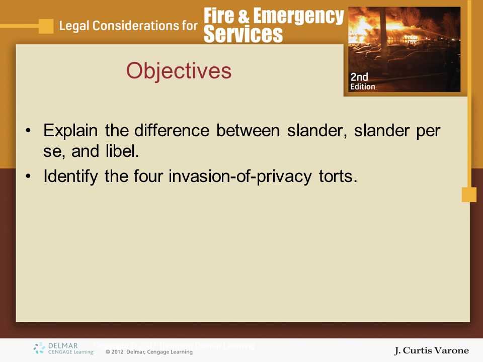 Copyright © 2007 Thomson Delmar Learning Explain the difference between slander, slander per se, and libel. Identify the four invasion-of-privacy tort