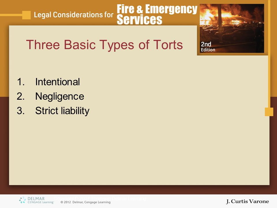 Copyright © 2007 Thomson Delmar Learning Three Basic Types of Torts 1.Intentional 2.Negligence 3.Strict liability