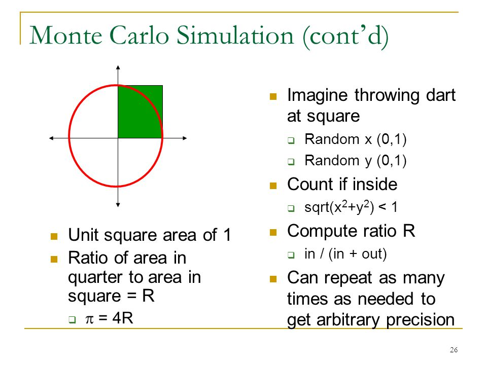 26 Monte Carlo Simulation (cont ' d) Imagine throwing dart at square  Random x (0,1)  Random y (0,1) Count if inside  sqrt(x 2 +y 2 ) < 1 Compute r