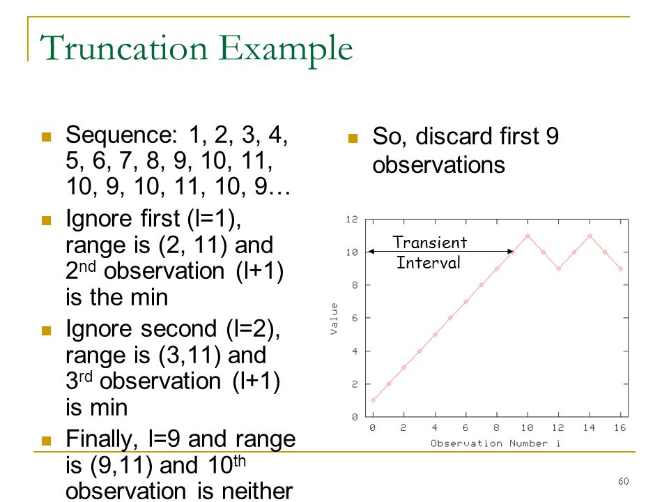 60 Truncation Example Sequence: 1, 2, 3, 4, 5, 6, 7, 8, 9, 10, 11, 10, 9, 10, 11, 10, 9… Ignore first (l=1), range is (2, 11) and 2 nd observation (l+