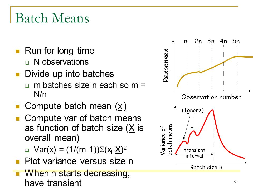 67 Batch Means Run for long time  N observations Divide up into batches  m batches size n each so m = N/n Compute batch mean (x i ) Compute var of b