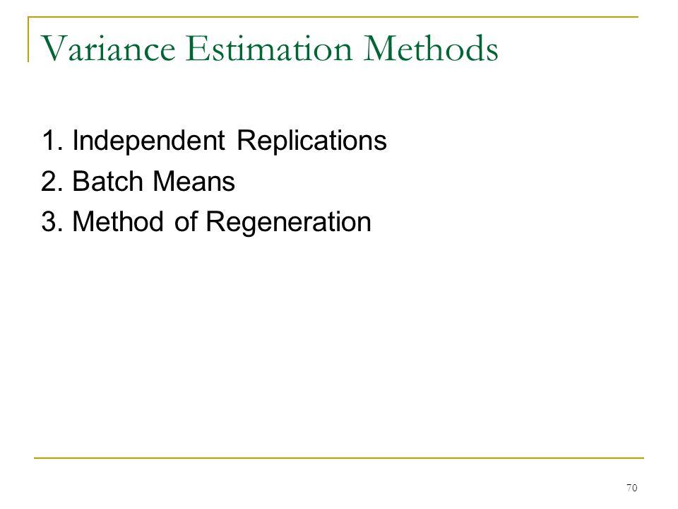 70 Variance Estimation Methods 1. Independent Replications 2. Batch Means 3. Method of Regeneration