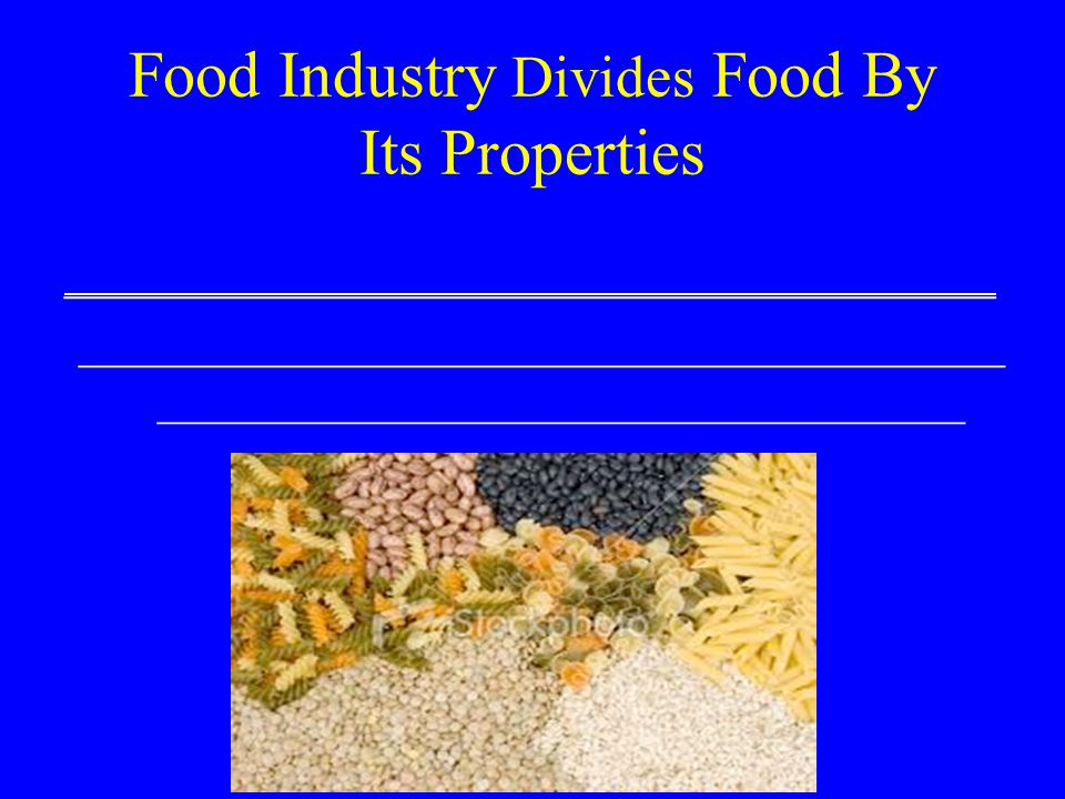 Food Industry Divides Food By Its Properties ___________________________________ _______________________________________ __________________________________