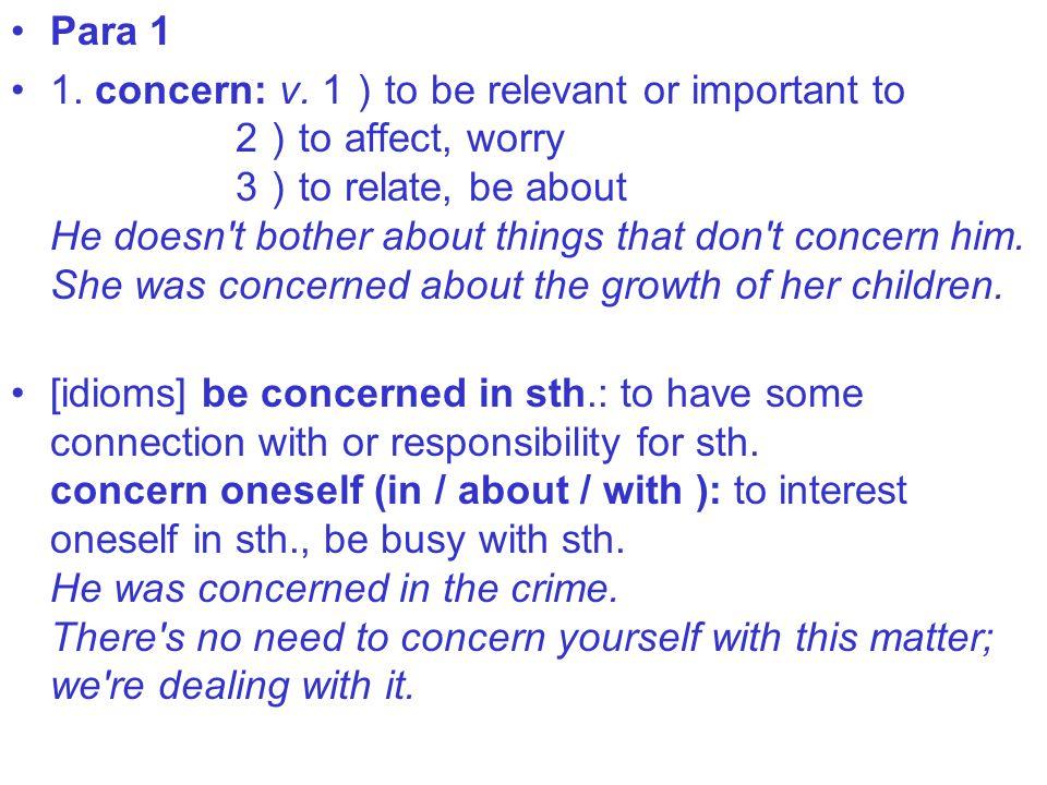 Para 1 1. concern: v.