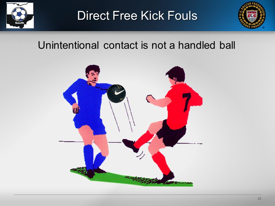 23 Direct Free Kick Fouls Unintentional contact is not a handled ball