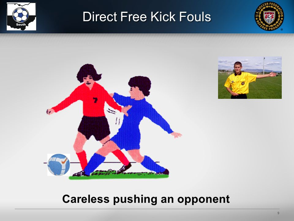 9 Careless pushing an opponent
