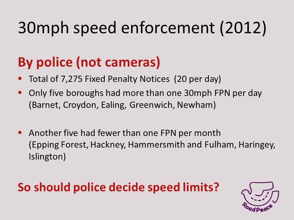 30mph speed enforcement (2012) By police (not cameras)  Total of 7,275 Fixed Penalty Notices (20 per day)  Only five boroughs had more than one 30mp
