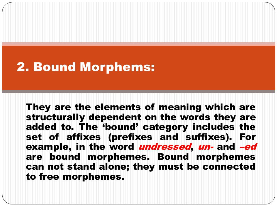 They are the elements of meaning which are structurally dependent on the words they are added to. The 'bound' category includes the set of affixes (pr