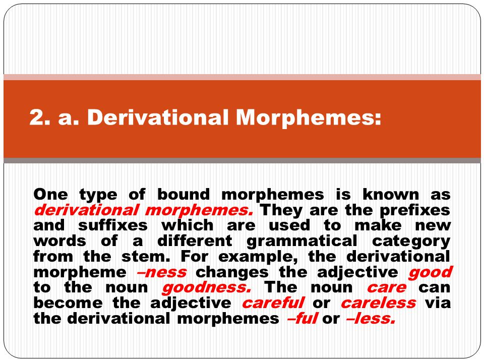 One type of bound morphemes is known as derivational morphemes. They are the prefixes and suffixes which are used to make new words of a different gra
