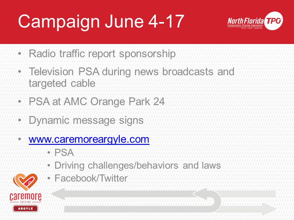 Campaign Elements June 4 - 17 Radio traffic report sponsorship Television PSA during news broadcasts and targeted cable PSA at AMC Orange Park 24 Dynamic message signs www.caremoreargyle.com PSA Driving challenges/behaviors and laws Facebook/Twitter Campaign June 4-17