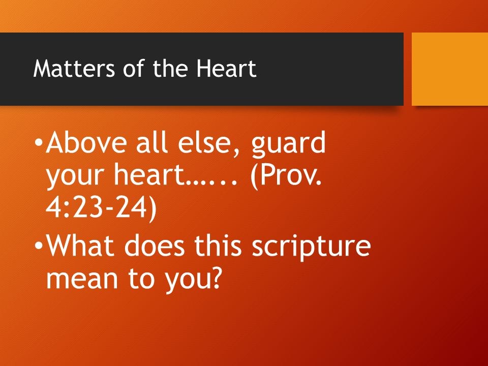 Matters of the Heart Above all else, guard your heart…... (Prov. 4:23-24) What does this scripture mean to you?