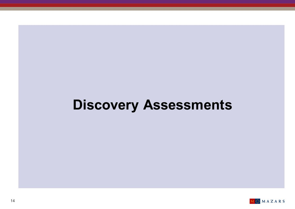 14 Discovery Assessments