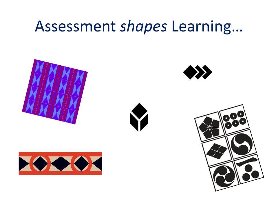Assessment shapes Learning…