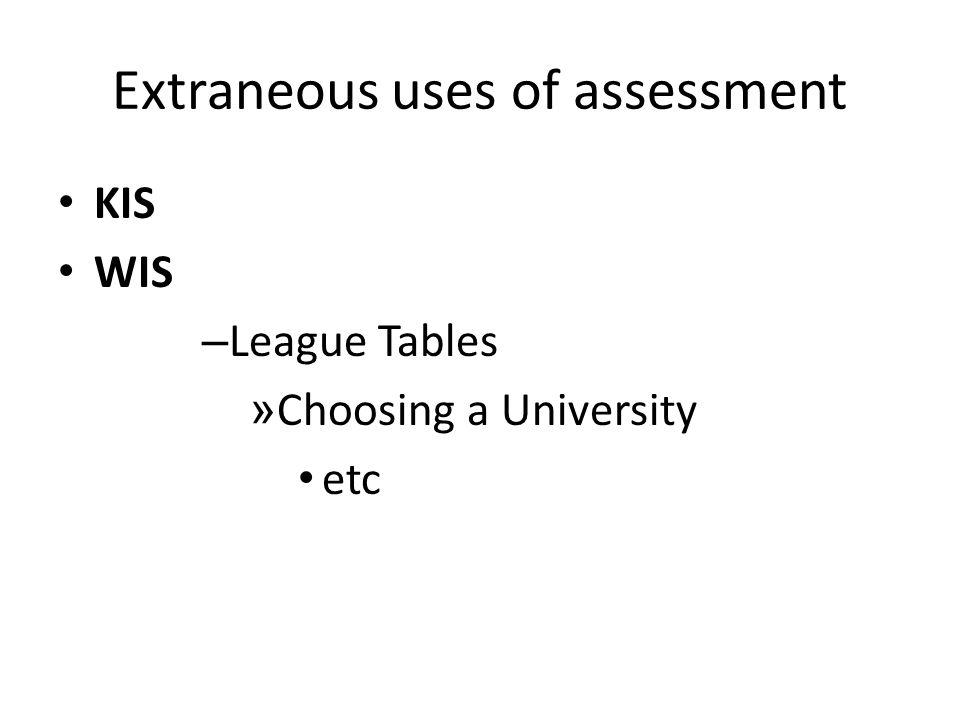 Extraneous uses of assessment KIS WIS – League Tables » Choosing a University etc