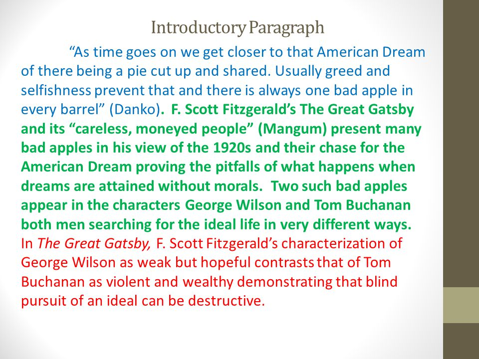 Introductory Paragraph As time goes on we get closer to that American Dream of there being a pie cut up and shared.