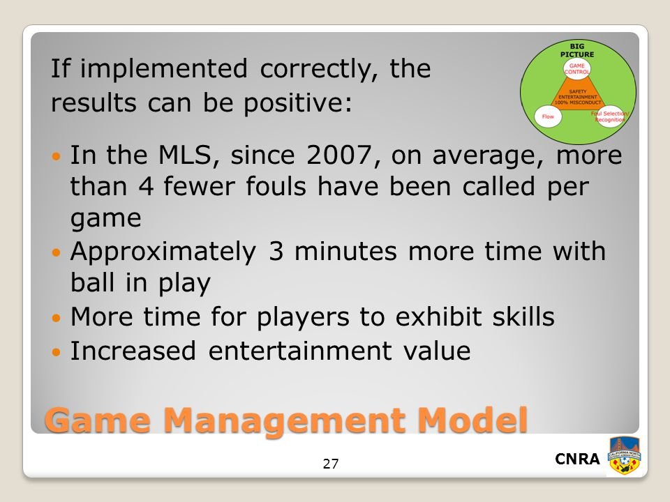 CNRA 27 Game Management Model If implemented correctly, the results can be positive: In the MLS, since 2007, on average, more than 4 fewer fouls have been called per game Approximately 3 minutes more time with ball in play More time for players to exhibit skills Increased entertainment value