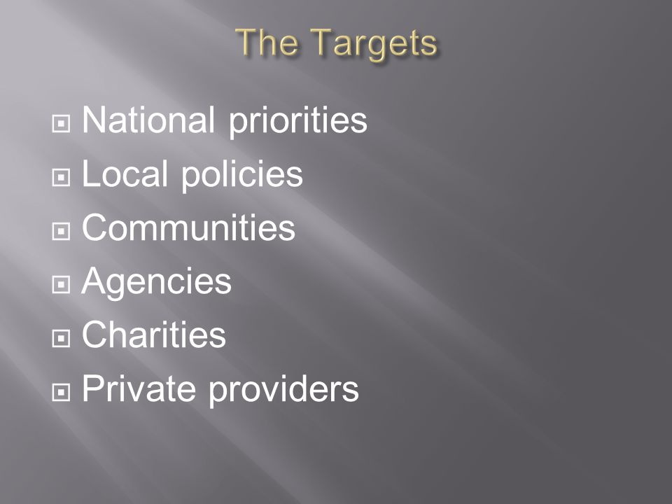  National priorities  Local policies  Communities  Agencies  Charities  Private providers