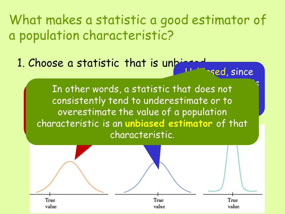 What makes a statistic a good estimator of a population characteristic.