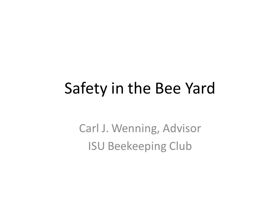 Safety in the Bee Yard Carl J. Wenning, Advisor ISU Beekeeping Club