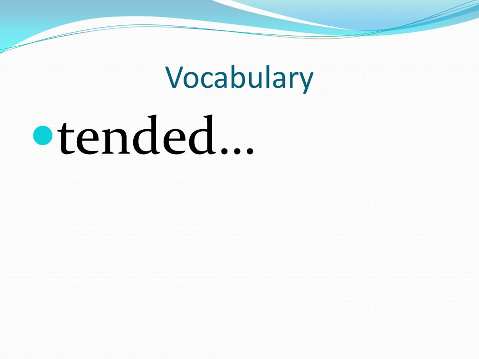 Vocabulary tended…