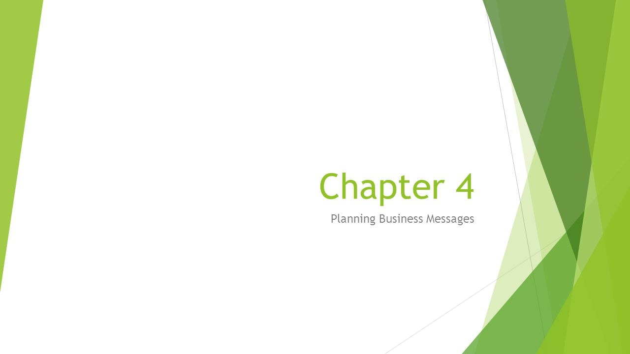 Chapter 4 Planning Business Messages