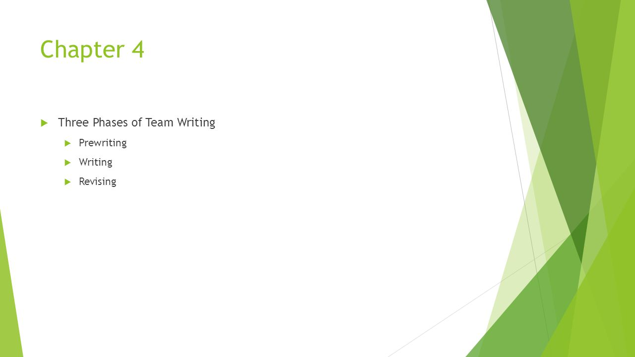 Chapter 4  Three Phases of Team Writing  Prewriting  Writing  Revising